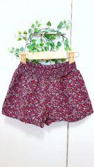 [美品] ◆GU*ジーユー◆ 小花柄キュロットスカート* ボルドー*110☆
