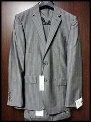 新品 D'URBAN 光沢 モヘヤ混 日本製 グレー×ストライプスーツ ダーバン Mサイズ