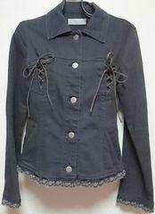 レストローズL'EST ROSE編み上げフリルストレッチ黒デニムジャケット美品Gジャン