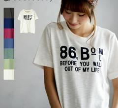 新品★ナンバーロゴ スラブTシャツ★ブルー★M