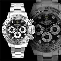 送料無料&1年保証!オラオラ系クロノグラフ腕時計/自動巻き手巻き防水/07銀