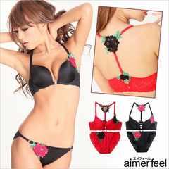 新品<ROSE>aimerfeel/エメフィール(ブラ&ショーツセット/RED)B70