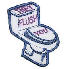 アイロンワッペン・パッチ トイレ使ったら流してね