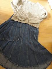 トップorスカート 網セーター・ジーンズロングスカート