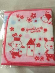 A:新品ミニガーゼタオル女の子用可愛い動物達★赤ピンク系