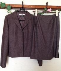 23区 オンワード樫山★ブラウン ツイード スカート スーツ M