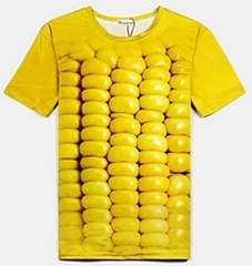 おもしろ3DTシャツ 立体的 Tシャツ 兼用 とうもろこしXL