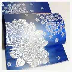 正絹 袋帯 ブルー地 花模様 織り 六通柄 中古品