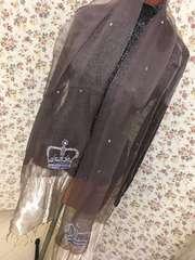 4073 豪華な大判ストール クラウン 薄紫 ビジュー