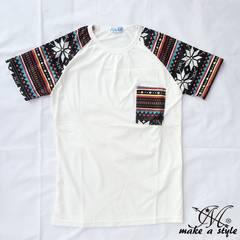 幾何学 エスニック ラグラン Tシャツ TEE 半袖 ホワイト 49L