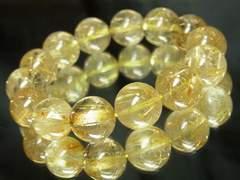 即決価格??金針水晶ゴールドルチル14mm数珠ブレスレット