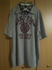 新品 メンズシャツ重ね着風半袖Tシャツグレー(5L)ロゴ×白黒チエック