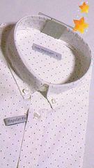 新品白色シャツ半袖 ドット柄ボタンダウン/LL  最終セール