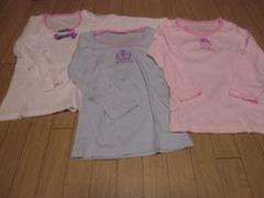 【新品】長袖シャツ3枚組140�p白ピンク水色