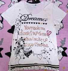 スカラーscolarアイボリー英字Tシャツ美品ポップ派手可愛