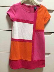 美品 babyGAP バイカラー半袖ワンピース ピンク系 100センチ