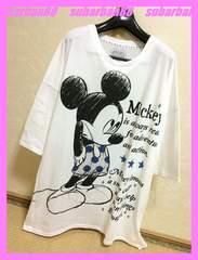 ☆ディズニー☆ミッキービッグサイズ7分袖Tシャツワンピ☆
