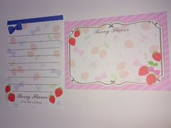 Berry flowers ミニバラメモ イチゴ リボン お花 ピンク ブルー