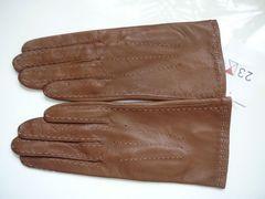 23区羊皮革手袋ステッチ濃いベージュ