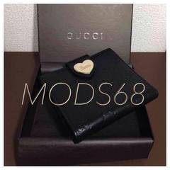 ◆グッチ◆USED良好美品◆黒シマライン◆ Wホック財布
