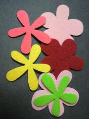 お花のシールフェルト6枚セット�B。手芸のワンポイントやスクラップブッキングなどに