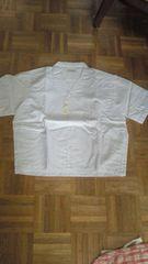 新品ショート丈半袖開襟シャツ #5658  着丈58  白  L
