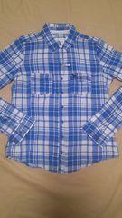 アバクロンビー&フィッチ ブルー×ホワイト チェックシャツ