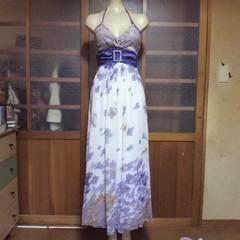 パープル花柄 ホルターロングドレス