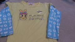 即決☆110�a黄色&水色の激カワ重ね着風長袖Tシャツ