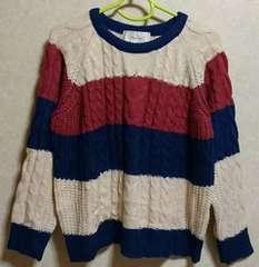 ページボーイ♪配色ボーダーニットセーター♪