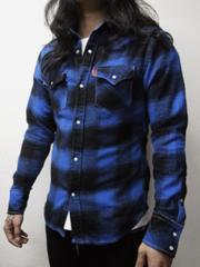 送料込み ブリューテンブラット ブロックシャツ 青 L