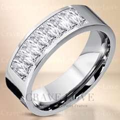 新品8ストーン プリンセスカット ステンレスリング☆14.5号指輪幅広 可愛い綺麗