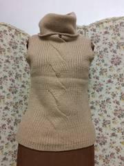 3755 ベージュ羊毛 ニット 可愛い Mサイズ
