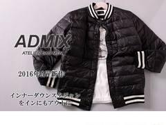 送料無料★新品ADMIX アトリエサブ スタジャン ダウンジャケットM 黒■T3568
