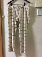 LL☆新品アイボリー格子柄の起毛クロップドパンツ