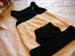 大きいサイズ3Lふわバイカラー配色ボアJSK☆ピンク×ブラック