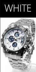 NEW★アナログ&デジタル・ビッグフェイス腕時計FSMB1WHT