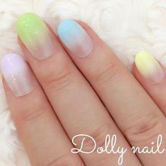 みぢょ!ショートオーバル春夏シンプル可愛いパステルカラー5色グラデーション