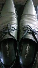 送料込 DOLCE&GABBANA 正規品 靴サイズ9光沢シルバー