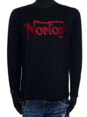 新品正規NortonレッドプリントロンTロゴ刺繍アメカジバイカー