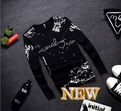 XL黒*送料無料*16秋最新作*ホワイトラバー印字スリム長袖Tシャツ