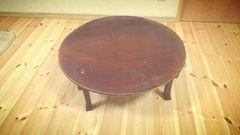 レトロ 丸卓袱台 円卓 折り畳み式   直径約74cm 机 ちゃぶ台