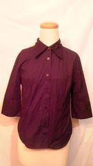BASIC STYLEシンプルタイト綿コットンYシャツワイシャツカッターシャツ無地黒 9号M