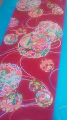 花簪昭和レトロ・化繊のはぎれ美しい花薬玉/34cm×115cm
