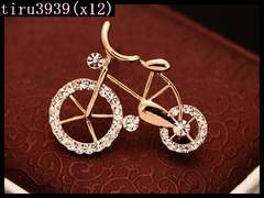 x12/キラキラ☆ゴールド自転車 ブローチ/送料120円