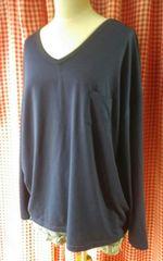 4L新品/大きいサイズ/エリVスリットポケTシャツ/ネイビー