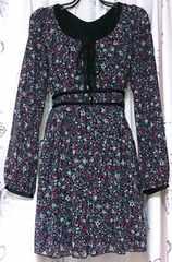 ロイスクレヨンLois CRAYON編み上げ花柄シフォンチュニックワンピース美品ロリィタ
