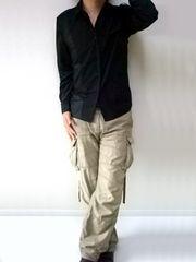 トレンチデザインシャツSブラック黒black新品※2点送料無料
