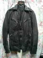 シェラックshellacレザーシャツブルゾンジャケット44黒ジレ