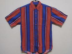 即決USA古着●ANTANAストライプデザイン半袖シャツ!アメカジ・ビンテージ
